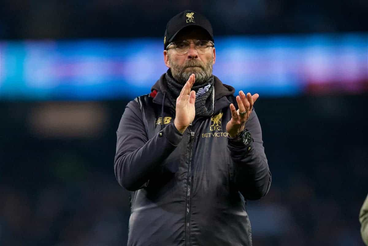 MANCHESTER, ENGLAND - Thursday, January 3, 2019: Liverpool's manager Jürgen Klopp applauds the supporters after the FA Premier League match between Manchester City FC and Liverpool FC at the Etihad Stadium. Manchester City won 2-1. (Pic by David Rawcliffe/Propaganda)