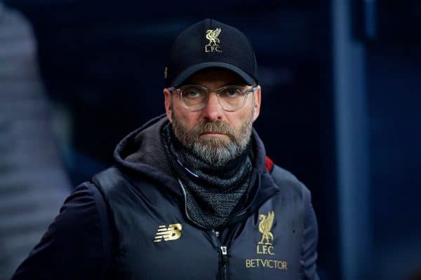 MANCHESTER, ENGLAND - Thursday, January 3, 2019: Liverpool's manager Jürgen Klopp before the FA Premier League match between Manchester City FC and Liverpool FC at the Etihad Stadium. (Pic by David Rawcliffe/Propaganda)