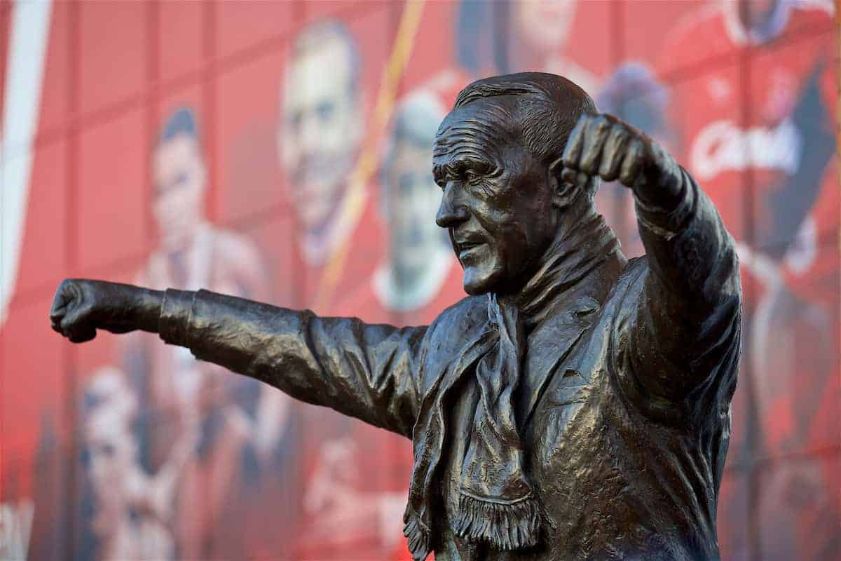 LIVERPOOL, ENGLAND - Sunday, January 14, 2018: A statue of former Liverpool manager Bill Shankly outside the Spion Kop before the FA Premier League match between Liverpool and Manchester City at Anfield. (Pic by David Rawcliffe/Propaganda)