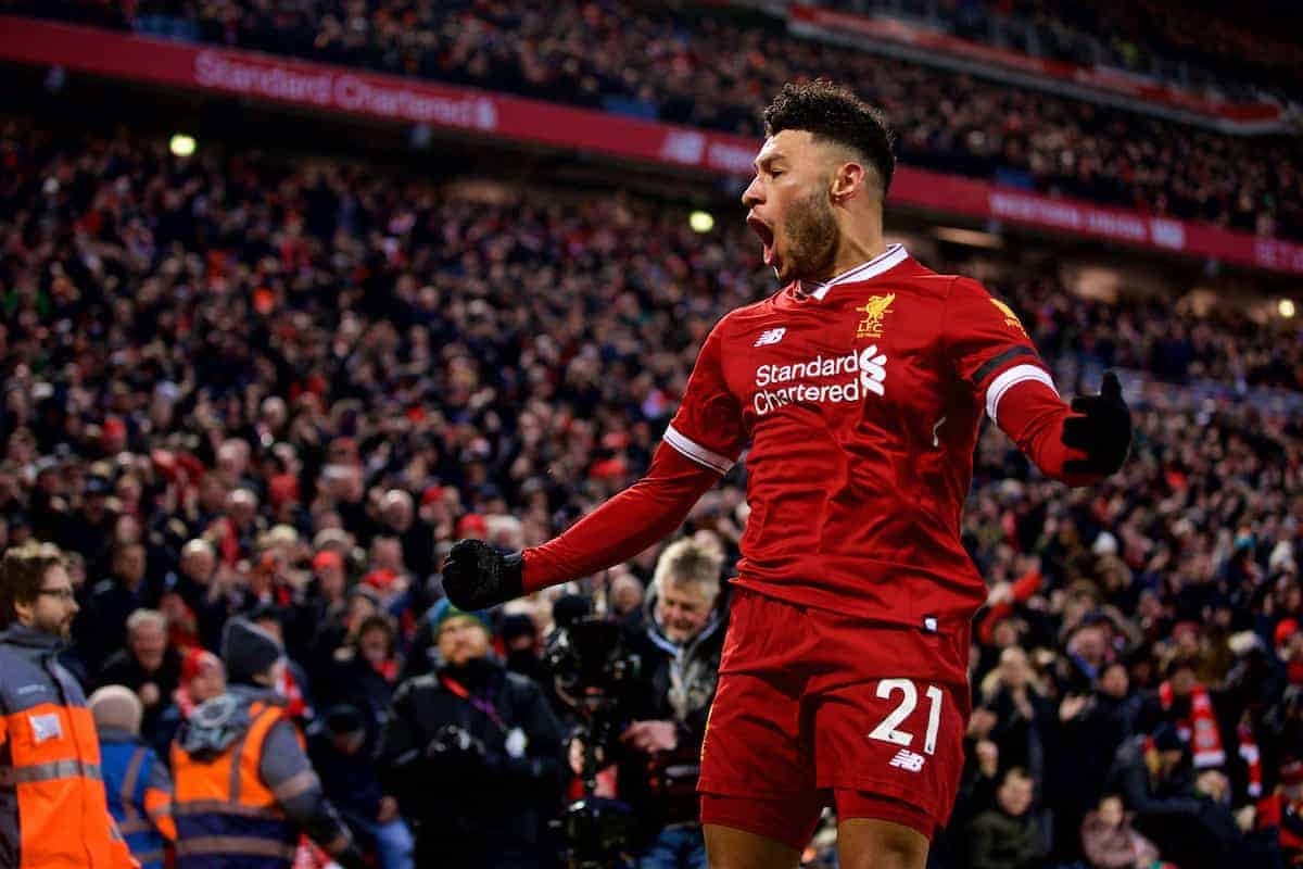 LIVERPOOL, ENGLAND - Sunday, January 14, 2018: Liverpool's Alex Oxlade-Chamberlain celebrates scoring the first goal during the FA Premier League match between Liverpool and Manchester City at Anfield. (Pic by David Rawcliffe/Propaganda)
