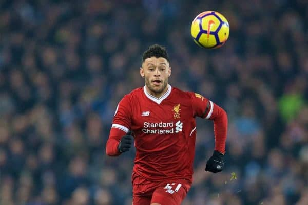 LIVERPOOL, ENGLAND - Sunday, January 14, 2018: Liverpool's Alex Oxlade-Chamberlain during the FA Premier League match between Liverpool and Manchester City at Anfield. (Pic by David Rawcliffe/Propaganda)