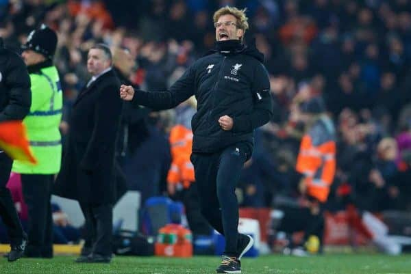 Liverpool's manager Jürgen Klopp celebrates his side's third goal during the FA Premier League match between Liverpool and Manchester City at Anfield. (Pic by David Rawcliffe/Propaganda)