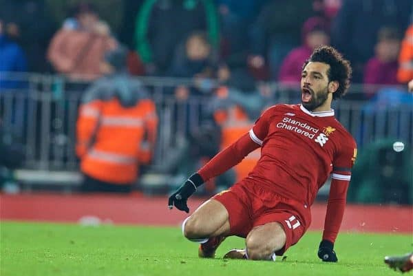 Liverpool's Mohamed Salah celebrates scoring the fourth goal during the FA Premier League match between Liverpool and Manchester City at Anfield. (Pic by David Rawcliffe/Propaganda)