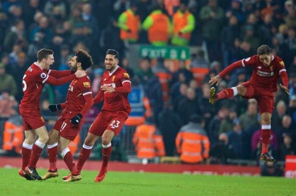 LIVERPOOL, ENGLAND - Sunday, January 14, 2018: Liverpool's Mohamed Salah celebrates scoring the fourth goal during the FA Premier League match between Liverpool and Manchester City at Anfield. (Pic by David Rawcliffe/Propaganda)