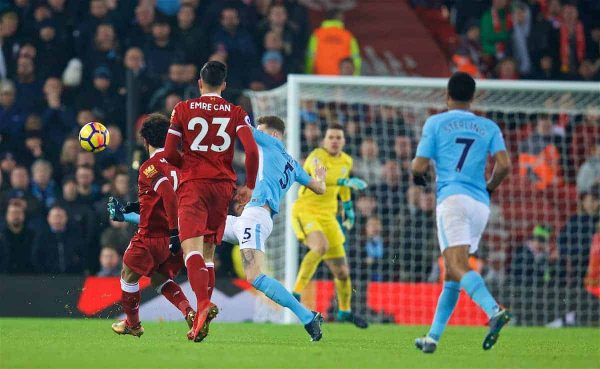 LIVERPOOL, ENGLAND - Sunday, January 14, 2018: Liverpool's Mohamed Salah scores the fourth goal during the FA Premier League match between Liverpool and Manchester City at Anfield. (Pic by David Rawcliffe/Propaganda)