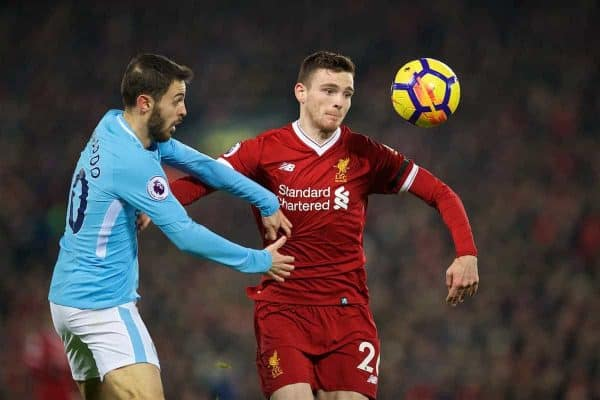 Liverpool's Andy Robertson and Manchester City's Bernardo Silva during the FA Premier League match between Liverpool and Manchester City at Anfield. (Pic by David Rawcliffe/Propaganda)