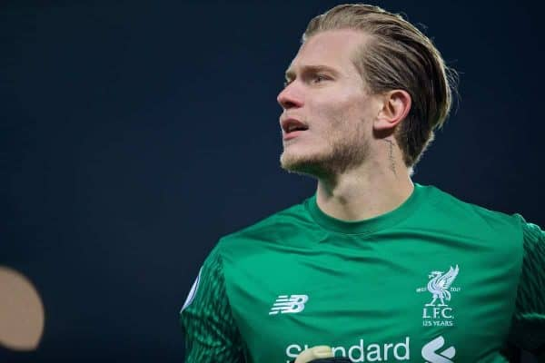 Liverpool's goalkeeper Loris Karius during the FA Premier League match between Liverpool and Manchester City at Anfield. (Pic by David Rawcliffe/Propaganda)