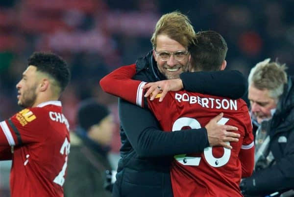 LIVERPOOL, ENGLAND - Sunday, January 14, 2018: Liverpool's manager Jürgen Klopp celebrates with Andy Robertson after his side's 4-3 victory during the FA Premier League match between Liverpool and Manchester City at Anfield. (Pic by David Rawcliffe/Propaganda)