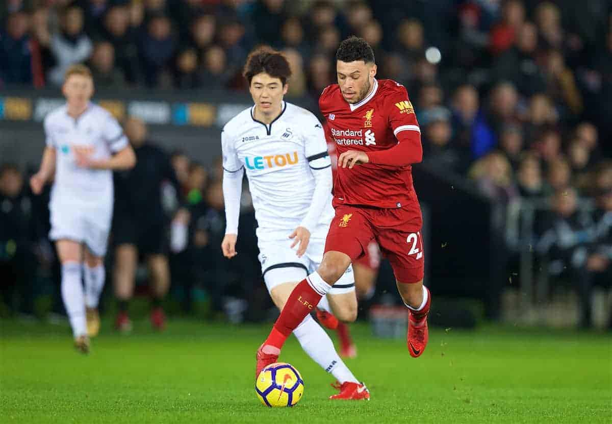 SWANSEA, WALES - Monday, January 22, 2018: Liverpool's Alex Oxlade-Chamberlain during the FA Premier League match between Swansea City FC and Liverpool FC at the Liberty Stadium. (Pic by David Rawcliffe/Propaganda)