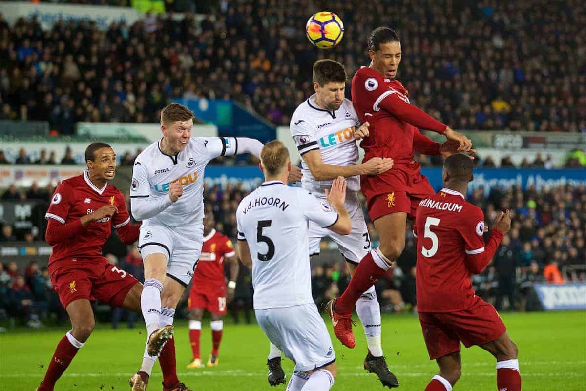 SWANSEA, WALES - Monday, January 22, 2018: Liverpool's Virgil van Dijk sees his header go wide during the FA Premier League match between Swansea City FC and Liverpool FC at the Liberty Stadium. (Pic by David Rawcliffe/Propaganda)c