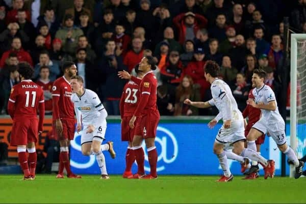 SWANSEA, WALES - Monday, January 22, 2018: Swansea City's Alfie Mawson celebrates scoring the first goal during the FA Premier League match between Swansea City FC and Liverpool FC at the Liberty Stadium. (Pic by David Rawcliffe/Propaganda)