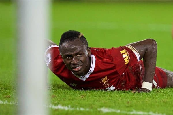 SWANSEA, WALES - Monday, January 22, 2018: Liverpool's Sadio Mane looks dejected after missing a chance during the FA Premier League match between Swansea City FC and Liverpool FC at the Liberty Stadium. (Pic by David Rawcliffe/Propaganda)