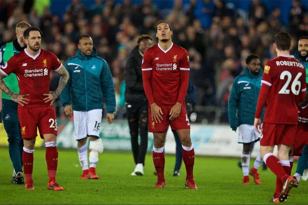 SWANSEA, WALES - Monday, January 22, 2018: Liverpool's Virgil van Dijk looks dejected during the FA Premier League match between Swansea City FC and Liverpool FC at the Liberty Stadium. (Pic by David Rawcliffe/Propaganda)
