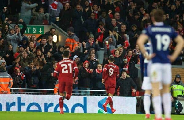 LIVERPOOL, ENGLAND - Sunday, January 14, 2018: Liverpool's Roberto Firmino celebrates scoring the first goal during the FA Premier League match between Liverpool and Manchester City at Anfield. (Pic by David Rawcliffe/Propaganda)
