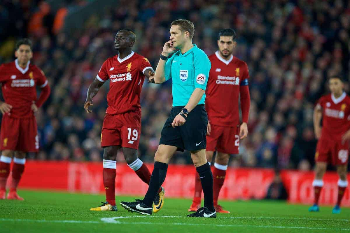 LIVERPOOL, ENGLAND - Sunday, January 14, 2018: Referee Craig Pawson disallows West Bromwich Albion's third goal after a video replay during the FA Premier League match between Liverpool and Manchester City at Anfield. (Pic by David Rawcliffe/Propaganda)
