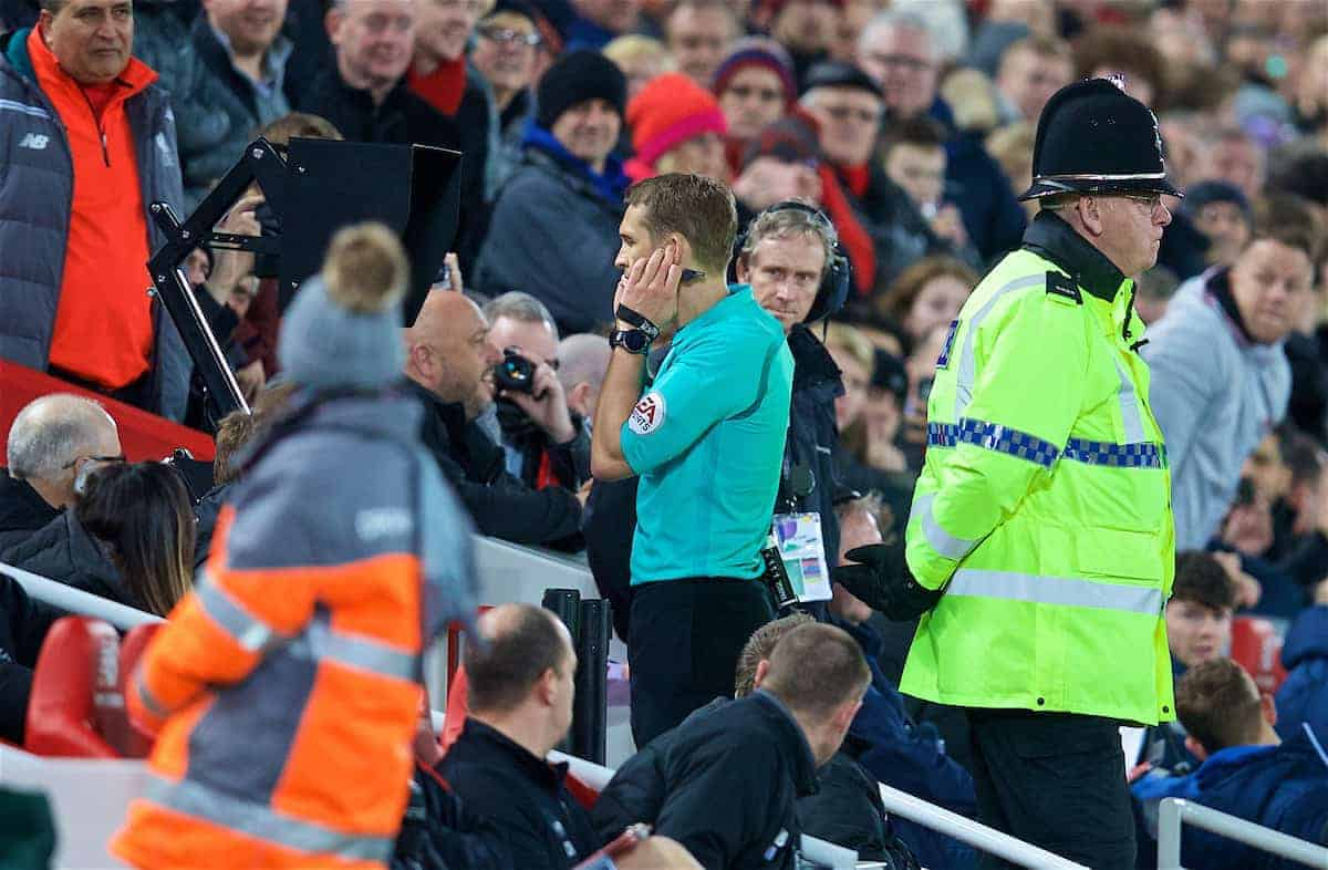 LIVERPOOL, ENGLAND - Sunday, January 14, 2018: Referee Craig Pawson awards Liverpool a penalty after reviewing a video replay during the FA Premier League match between Liverpool and Manchester City at Anfield. (Pic by David Rawcliffe/Propaganda)