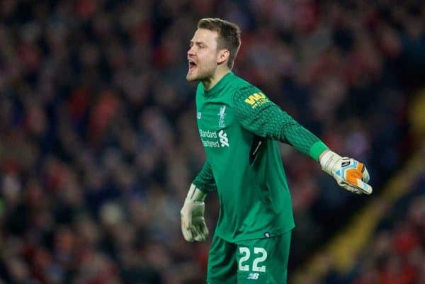 Liverpool's goalkeeper Simon Mignolet during the FA Premier League match between Liverpool and Manchester City at Anfield. (Pic by David Rawcliffe/Propaganda)