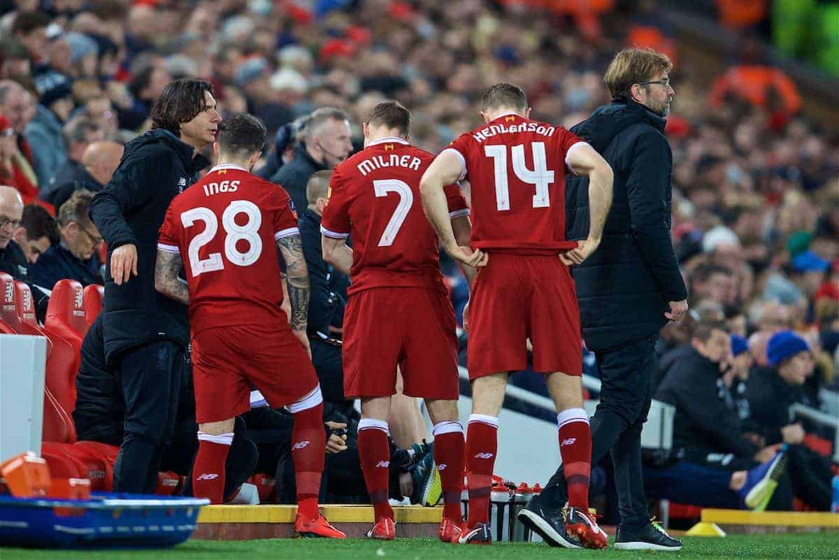 LIVERPOOL, ENGLAND - Sunday, January 14, 2018: Liverpool's manager Jürgen Klopp makes a triple substitution as he brings on Danny Ings, James Milner and captain Jordan Henderson during the FA Premier League match between Liverpool and West Brom at Anfield. (Pic by David Rawcliffe/Propaganda)