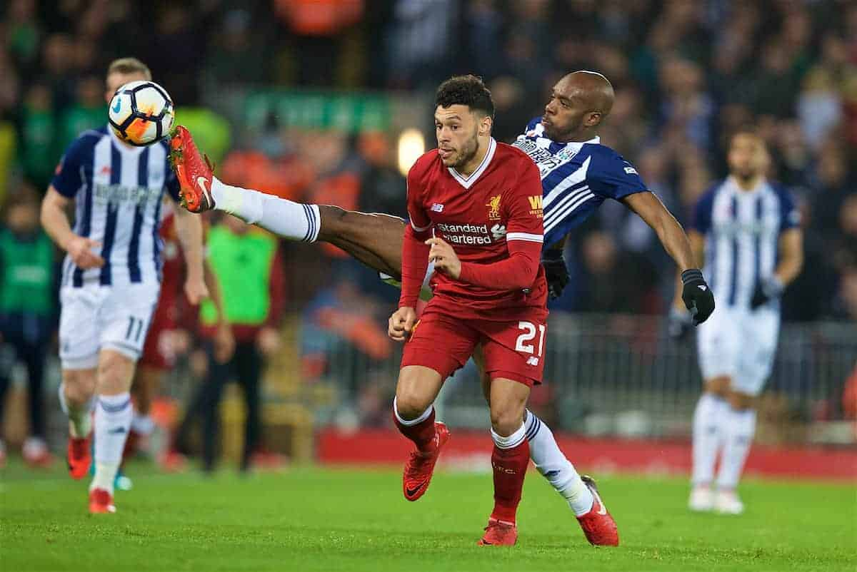 LIVERPOOL, ENGLAND - Sunday, January 14, 2018: Liverpool's Alex Oxlade-Chamberlain and West Bromwich Albion's Alla Nyom during the FA Premier League match between Liverpool and Manchester City at Anfield. (Pic by David Rawcliffe/Propaganda)