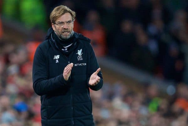 LIVERPOOL, ENGLAND - Sunday, January 14, 2018: Liverpool's Jurgen Klopp during the FA Premier League match between Liverpool and West Brom at Anfield. (Pic by David Rawcliffe/Propaganda)
