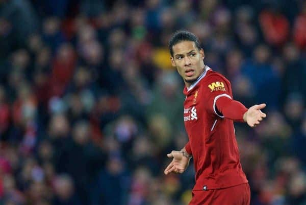 LIVERPOOL, ENGLAND - Sunday, January 14, 2018: Liverpool's Virgil van Dijk looks dejected after missing a chance during the FA Premier League match between Liverpool and Manchester City at Anfield. (Pic by David Rawcliffe/Propaganda)