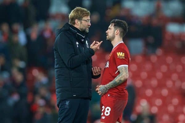 LIVERPOOL, ENGLAND - Sunday, January 14, 2018: Liverpool's manager Jürgen Klopp and Danny Ings after the 2-3 defeat during the FA Premier League match between Liverpool and Manchester City at Anfield. (Pic by David Rawcliffe/Propaganda)