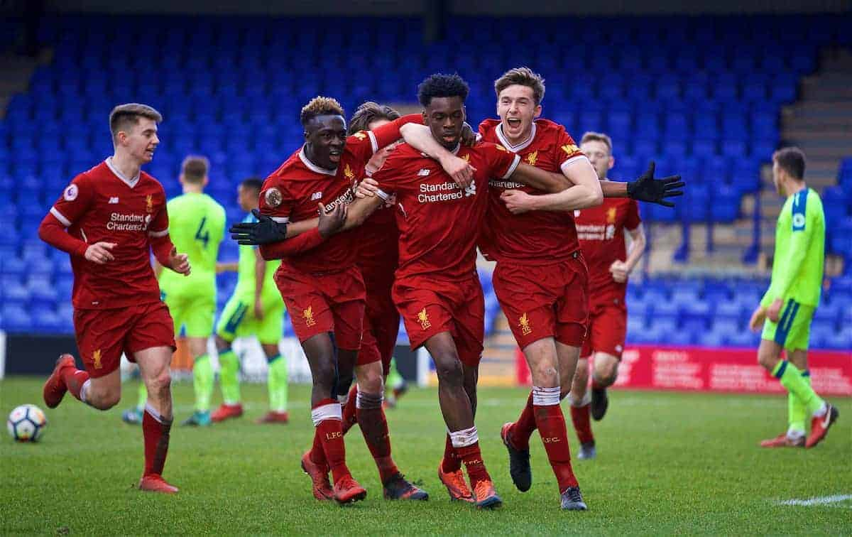 BIRKENHEAD, ENGLAND - Sunday, January 28, 2018: Liverpool's Oviemuno Ovie Ejaria celebrates scoring the first goal during the Under-23 FA Premier League 2 Division 1 match between Liverpool and Derby County at Prenton Park. (Pic by David Rawcliffe/Propaganda)