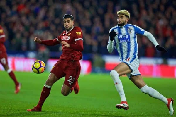 HUDDERSFIELD, ENGLAND - Tuesday, January 30, 2018: Liverpool's Emre Can and Huddersfield Town's Philip Billing during the FA Premier League match between Huddersfield Town FC and Liverpool FC at the John Smith's Stadium. (Pic by David Rawcliffe/Propaganda)