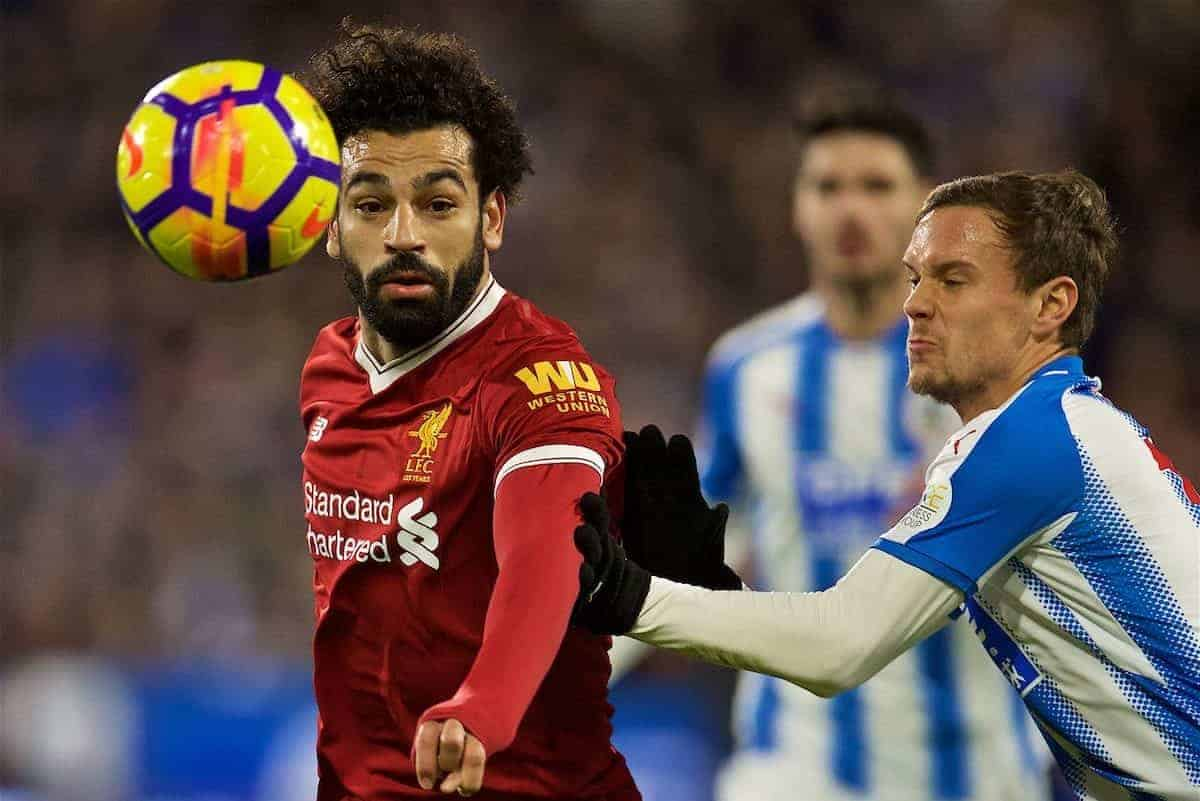 HUDDERSFIELD, ENGLAND - Tuesday, January 30, 2018: Liverpool's Mohamed Salah during the FA Premier League match between Huddersfield Town FC and Liverpool FC at the John Smith's Stadium. (Pic by David Rawcliffe/Propaganda)