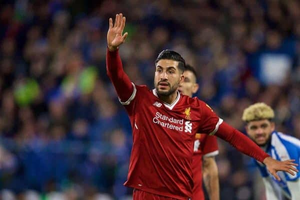 HUDDERSFIELD, ENGLAND - Tuesday, January 30, 2018: Liverpool's Emre Can during the FA Premier League match between Huddersfield Town FC and Liverpool FC at the John Smith's Stadium. (Pic by David Rawcliffe/Propaganda)