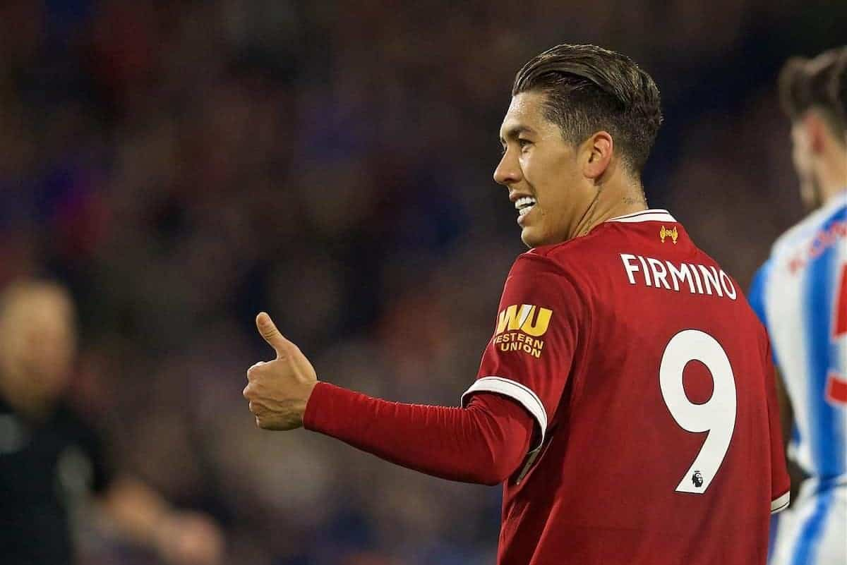HUDDERSFIELD, ENGLAND - Tuesday, January 30, 2018: Liverpool's Roberto Firmino during the FA Premier League match between Huddersfield Town FC and Liverpool FC at the John Smith's Stadium. (Pic by David Rawcliffe/Propaganda)