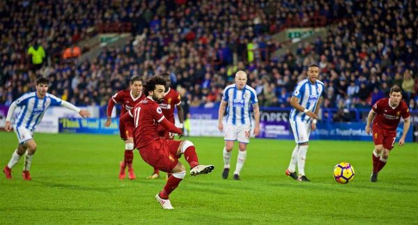 HUDDERSFIELD, ENGLAND - Tuesday, January 30, 2018: Liverpool's Mohamed Salah scores the third goal from a penalty kick during the FA Premier League match between Huddersfield Town FC and Liverpool FC at the John Smith's Stadium. (Pic by David Rawcliffe/Propaganda)
