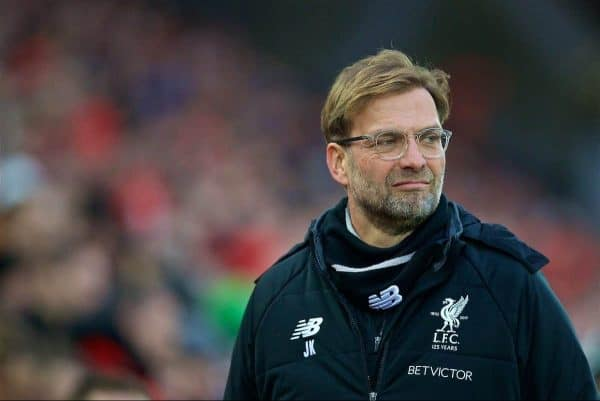 LIVERPOOL, ENGLAND - Sunday, February 4, 2018: Liverpool's manager Jürgen Klopp before the FA Premier League match between Liverpool FC and Tottenham Hotspur FC at Anfield. (Pic by David Rawcliffe/Propaganda)