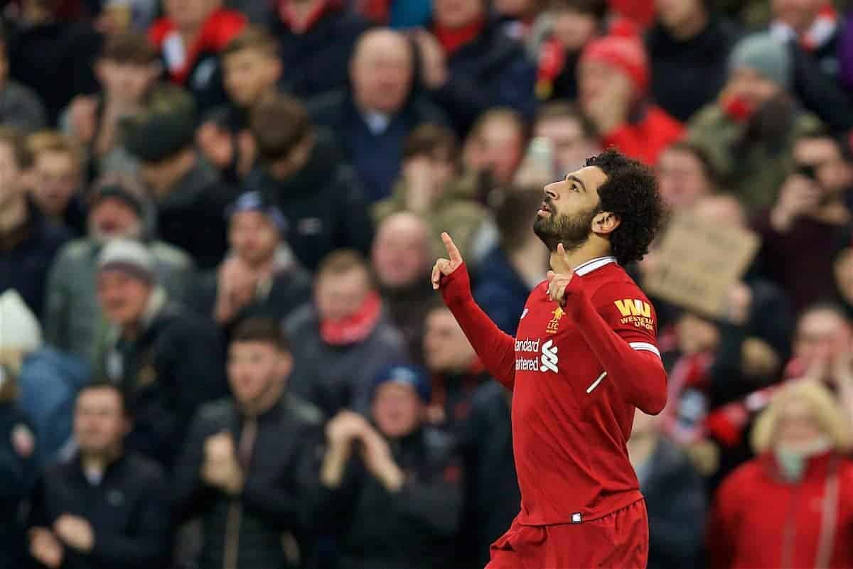 LIVERPOOL, ENGLAND - Sunday, February 4, 2018: Liverpool's Mohamed Salah celebrates scoring the first goal during the FA Premier League match between Liverpool FC and Tottenham Hotspur FC at Anfield. (Pic by David Rawcliffe/Propaganda)