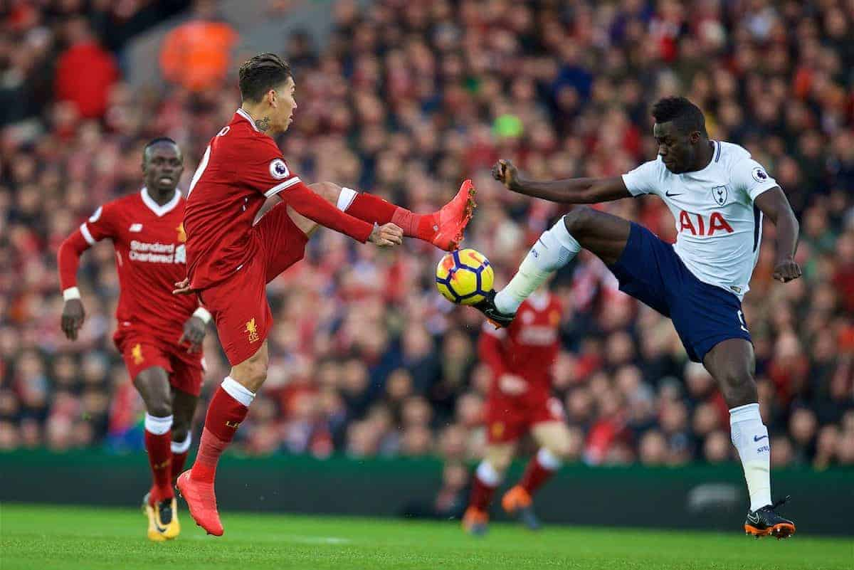 LIVERPOOL, ENGLAND - Sunday, February 4, 2018: Liverpool's Roberto Firmino and Tottenham Hotspur's Davinson Sanchez during the FA Premier League match between Liverpool FC and Tottenham Hotspur FC at Anfield. (Pic by David Rawcliffe/Propaganda)