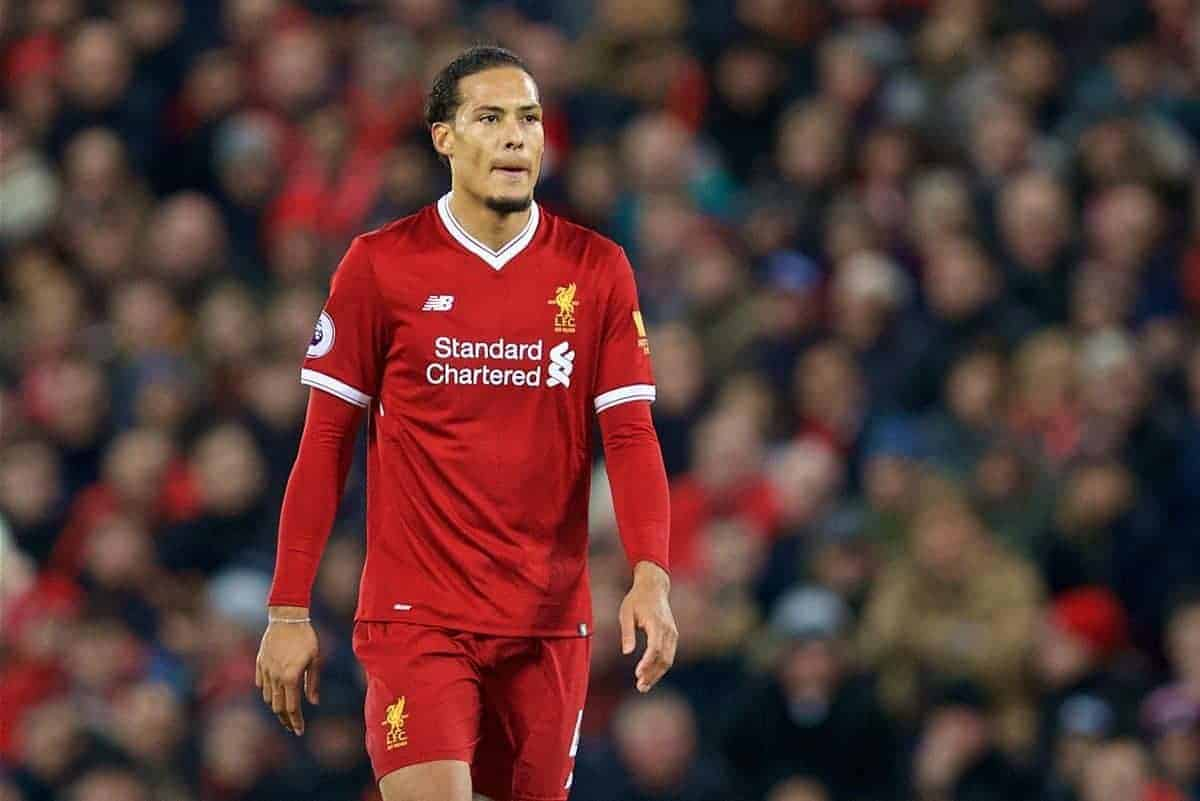 LIVERPOOL, ENGLAND - Sunday, February 4, 2018: Liverpool's Virgil van Dijk during the FA Premier League match between Liverpool FC and Tottenham Hotspur FC at Anfield. (Pic by David Rawcliffe/Propaganda)