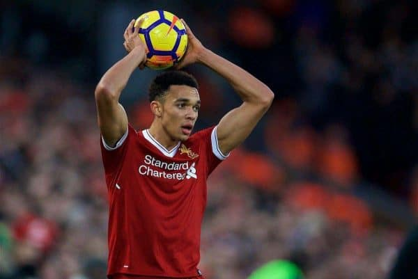 LIVERPOOL, ENGLAND - Sunday, February 4, 2018: Liverpool's Trent Alexander-Arnold during the FA Premier League match between Liverpool FC and Tottenham Hotspur FC at Anfield. (Pic by David Rawcliffe/Propaganda)