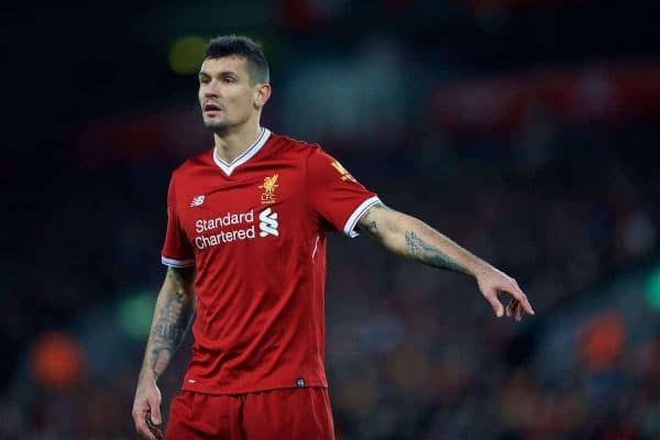 Liverpool's Dejan Lovren during the FA Premier League match between Liverpool FC and Tottenham Hotspur FC at Anfield. (Pic by David Rawcliffe/Propaganda)