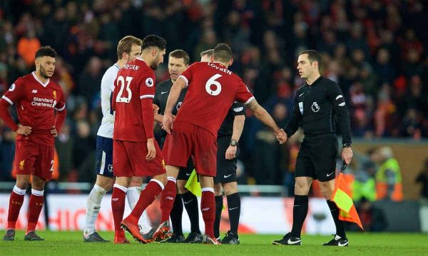 LIVERPOOL, ENGLAND - Sunday, February 4, 2018: Liverpool's Dejan Lovren shakes hands with assistant referee Eddie Smart walks off to a chorus of boos from the supporters after he went against referee Jonathan Moss to impose two penalties for Tottenham Hotspur during the FA Premier League match between Liverpool FC and Tottenham Hotspur FC at Anfield. (Pic by David Rawcliffe/Propaganda)