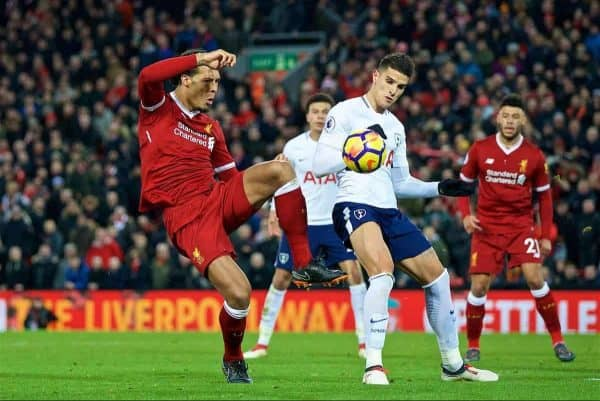 LIVERPOOL, ENGLAND - Sunday, February 4, 2018: Tottenham Hotspur's Erik Lamela dives under pressure from Liverpool's Virgil van Dijk as he wins a second penalty for Tottenham Hotspur in injury time during the FA Premier League match between Liverpool FC and Tottenham Hotspur FC at Anfield. (Pic by David Rawcliffe/Propaganda)