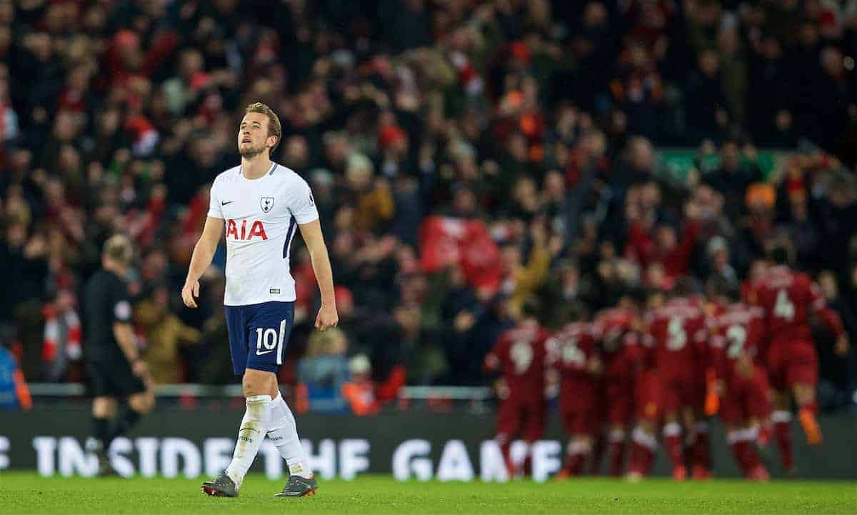 LIVERPOOL, ENGLAND - Sunday, February 4, 2018: Tottenham Hotspur's Harry Kane looks dejected as Liverpool score a late second goal during the FA Premier League match between Liverpool FC and Tottenham Hotspur FC at Anfield. (Pic by David Rawcliffe/Propaganda)