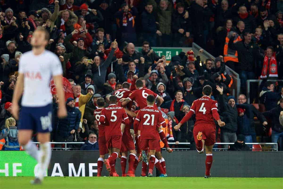 LIVERPOOL, ENGLAND - Sunday, February 4, 2018: Liverpool players celebrate after a late second goal by Mohamed Salah during the FA Premier League match between Liverpool FC and Tottenham Hotspur FC at Anfield. (Pic by David Rawcliffe/Propaganda)