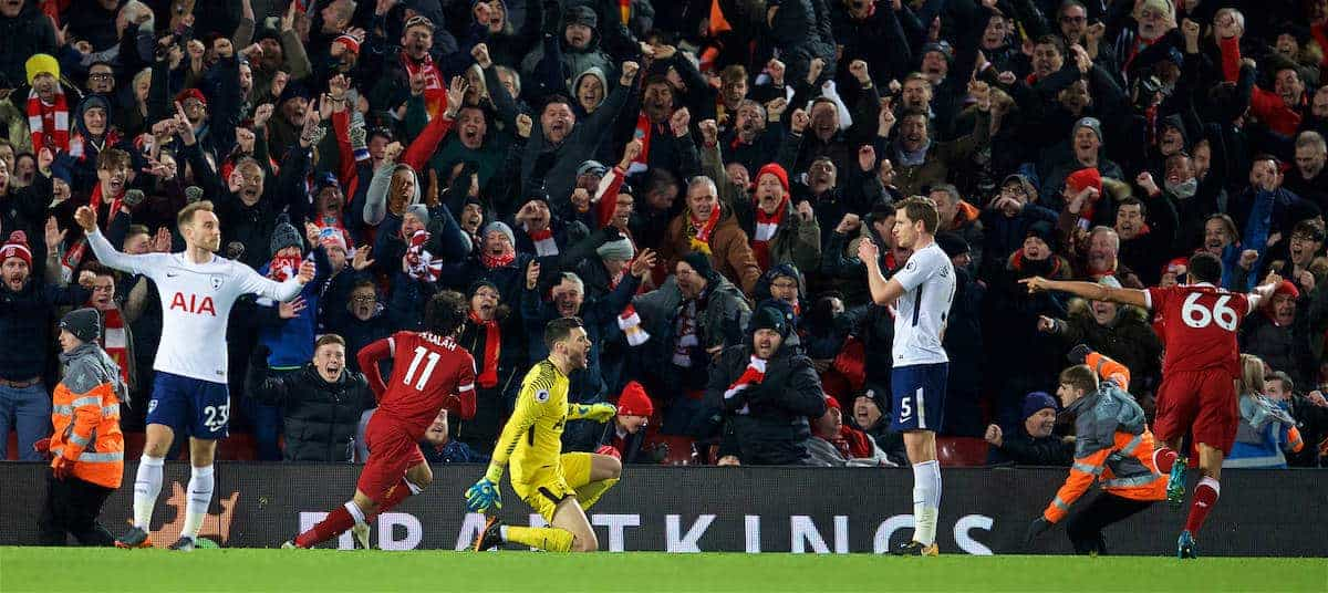 LIVERPOOL, ENGLAND - Sunday, February 4, 2018: Liverpool's Mohamed Salah celebrates scoring the second goal during the FA Premier League match between Liverpool FC and Tottenham Hotspur FC at Anfield. (Pic by David Rawcliffe/Propaganda)