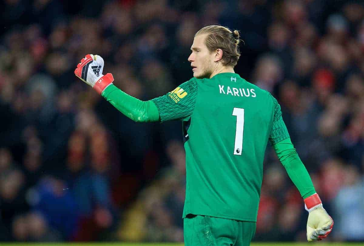 LIVERPOOL, ENGLAND - Sunday, February 4, 2018: Liverpool's goalkeeper Loris Karius celebrates after saving a penalty from Tottenham Hotspur during the FA Premier League match between Liverpool FC and Tottenham Hotspur FC at Anfield. (Pic by David Rawcliffe/Propaganda)