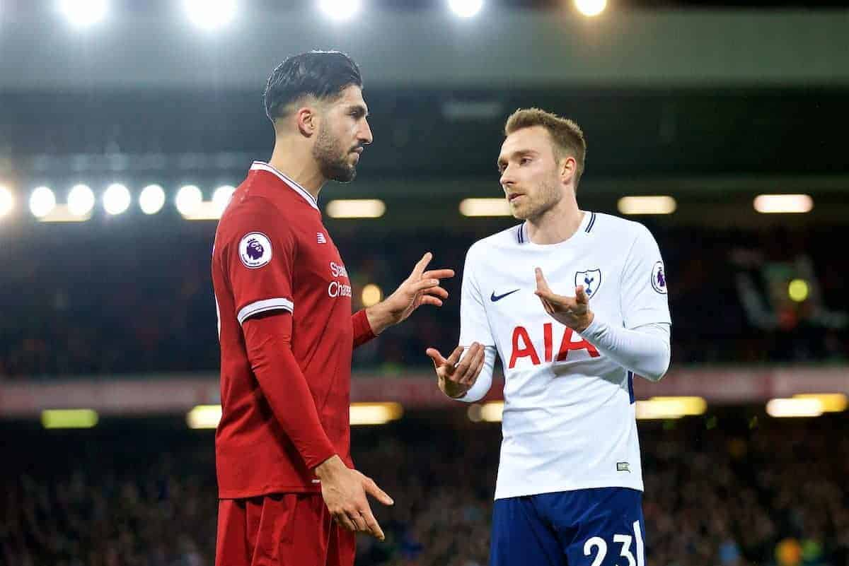 LIVERPOOL, ENGLAND - Sunday, February 4, 2018: Liverpool's Emre Can and Tottenham Hotspur's Christian Eriksen argue after a penalty decision during the FA Premier League match between Liverpool FC and Tottenham Hotspur FC at Anfield. (Pic by David Rawcliffe/Propaganda)