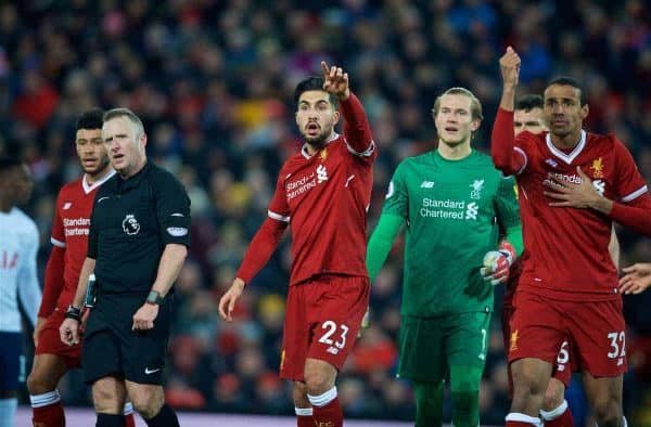 LIVERPOOL, ENGLAND - Sunday, February 4, 2018: Liverpool's Emre Can, goalkeeper Loris Karius and Joel Matip complain as referee Jonathan Moss awards a penalty with the helop of the assistant referee during the FA Premier League match between Liverpool FC and Tottenham Hotspur FC at Anfield. (Pic by David Rawcliffe/Propaganda)