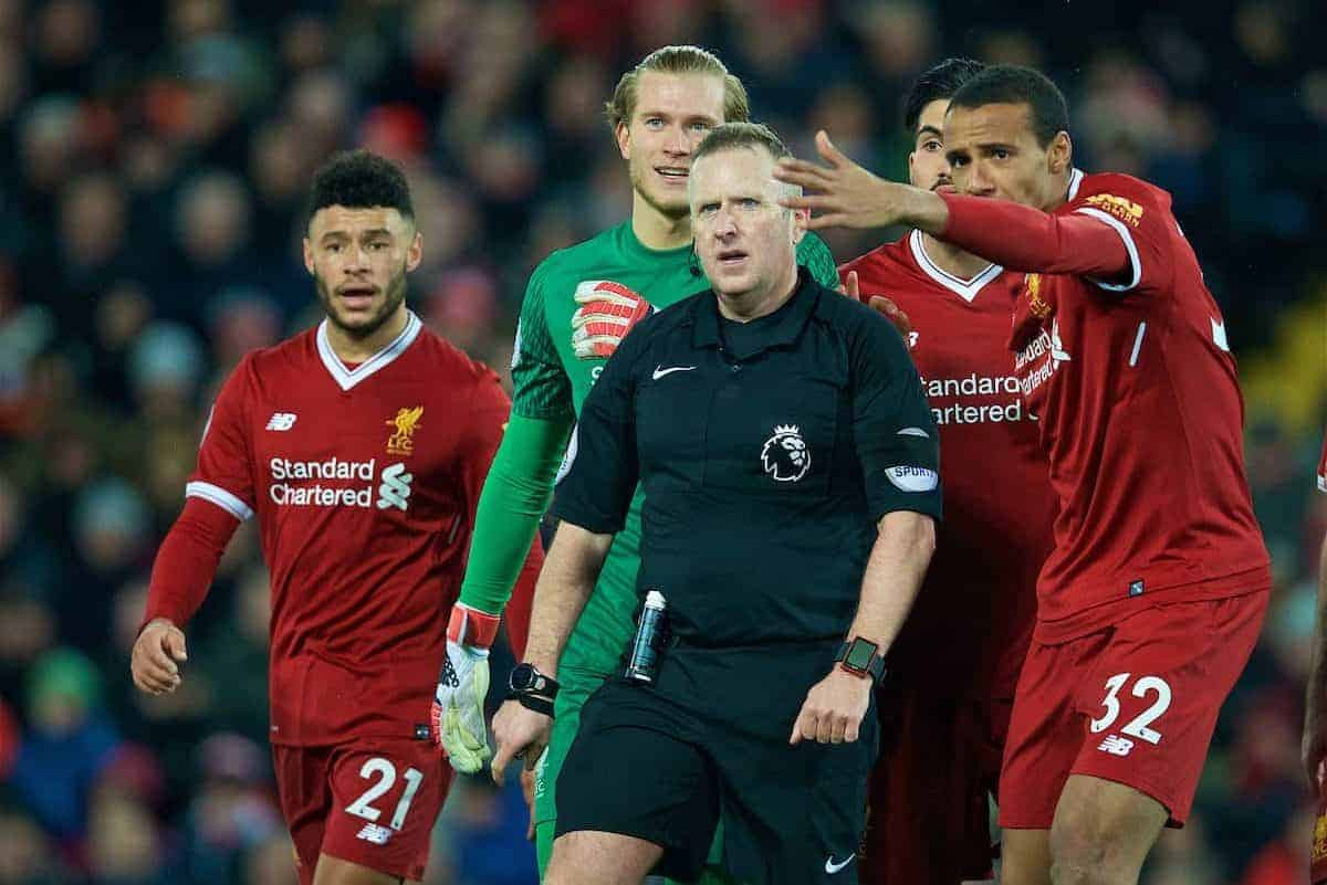 LIVERPOOL, ENGLAND - Sunday, February 4, 2018: Liverpool's Alex Oxlade-Chamberlain, goalkeeper Loris Karius and Joel Matip complain as referee Jonathan Moss awards a penalty with the helop of the assistant referee during the FA Premier League match between Liverpool FC and Tottenham Hotspur FC at Anfield. (Pic by David Rawcliffe/Propaganda)