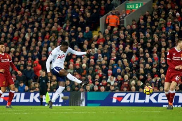 Tottenham Hotspur's Victor Wanyama scores the first equalising goal during the FA Premier League match between Liverpool FC and Tottenham Hotspur FC at Anfield. (Pic by David Rawcliffe/Propaganda)
