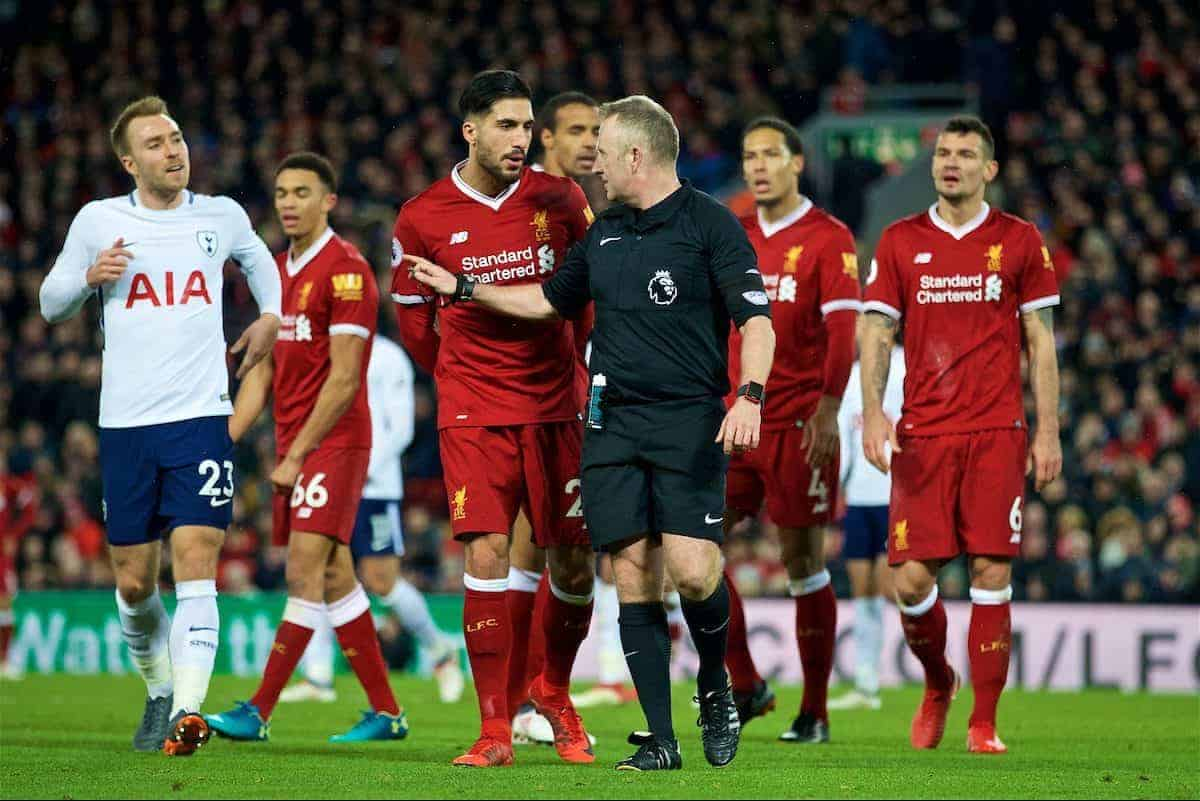 LIVERPOOL, ENGLAND - Sunday, February 4, 2018: Liverpool's Emre Can complains to referee Jonathan Moss as Tottenham Hotspur are awarded their first penalty during the FA Premier League match between Liverpool FC and Tottenham Hotspur FC at Anfield. (Pic by David Rawcliffe/Propaganda)
