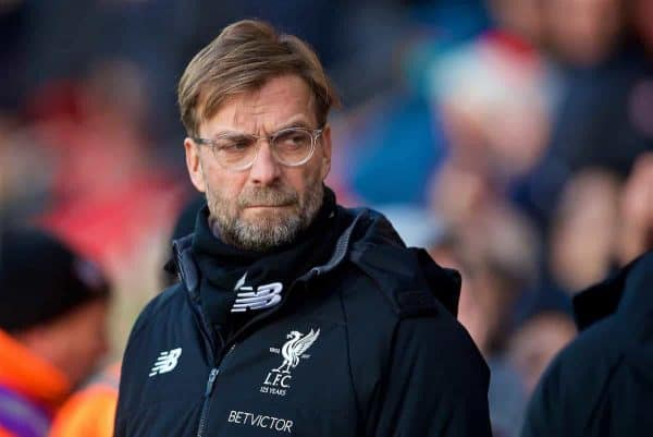 SOUTHAMPTON, ENGLAND - Sunday, February 11, 2018: Liverpool's manager Jürgen Klopp before the FA Premier League match between Southampton FC and Liverpool FC at St. Mary's Stadium. (Pic by David Rawcliffe/Propaganda)